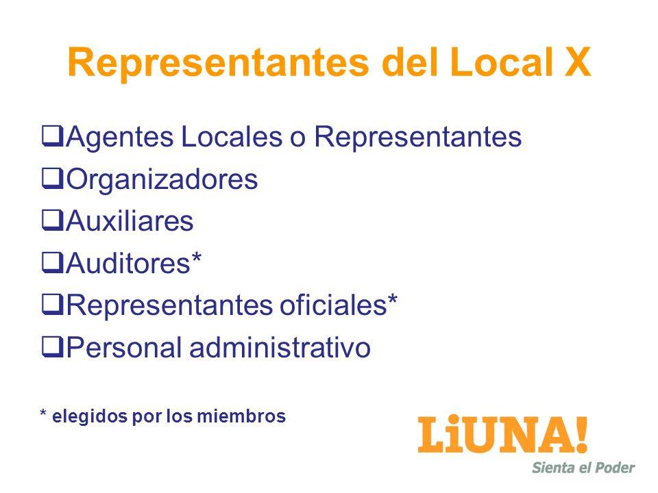 Representantes del Local X Agentes Locales o Representantes Organizadores Auxiliares Auditores* Representantes oficiales* Personal administrativo * el