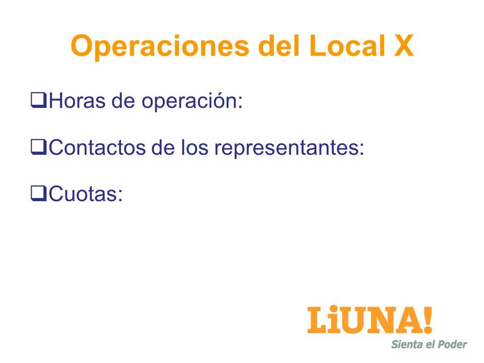 Operaciones del Local X Horas de operación: Contactos de los representantes: Cuotas: