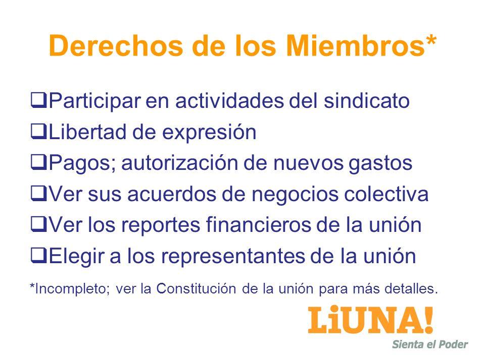 Derechos de los Miembros* Participar en actividades del sindicato Libertad de expresión Pagos; autorización de nuevos gastos Ver sus acuerdos de negoc