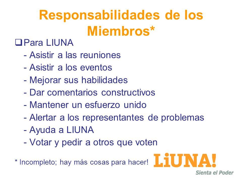 Responsabilidades de los Miembros* Para LIUNA - Asistir a las reuniones - Asistir a los eventos - Mejorar sus habilidades - Dar comentarios constructi