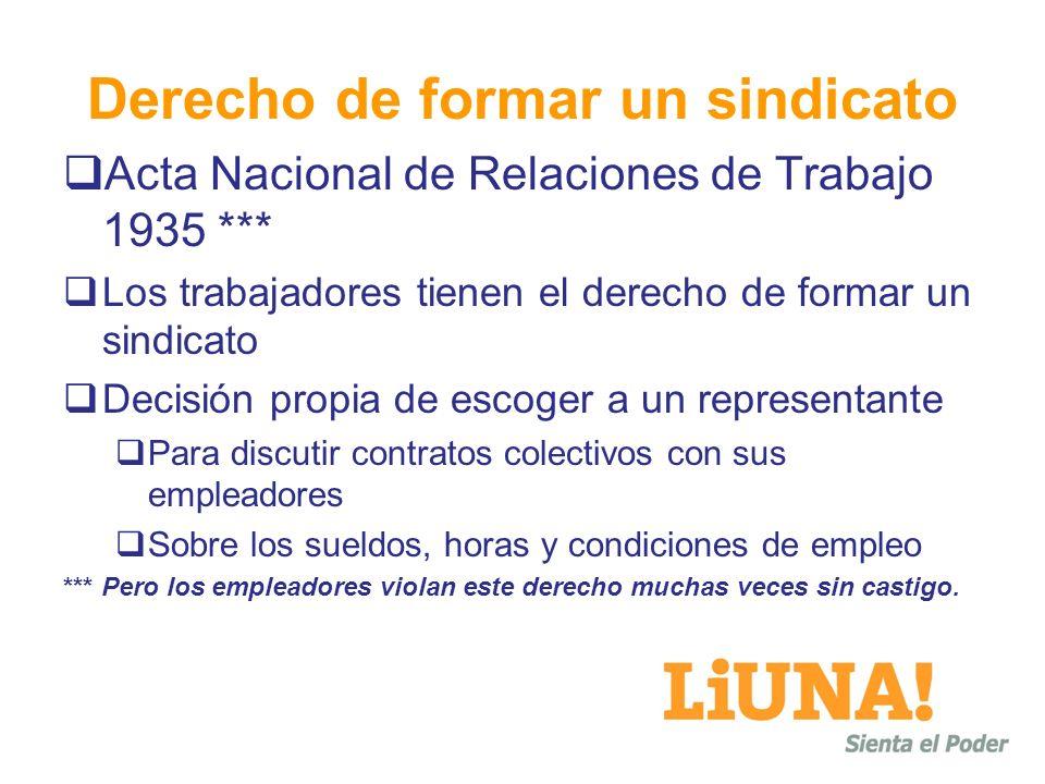 Derecho de formar un sindicato Acta Nacional de Relaciones de Trabajo 1935 *** Los trabajadores tienen el derecho de formar un sindicato Decisión prop