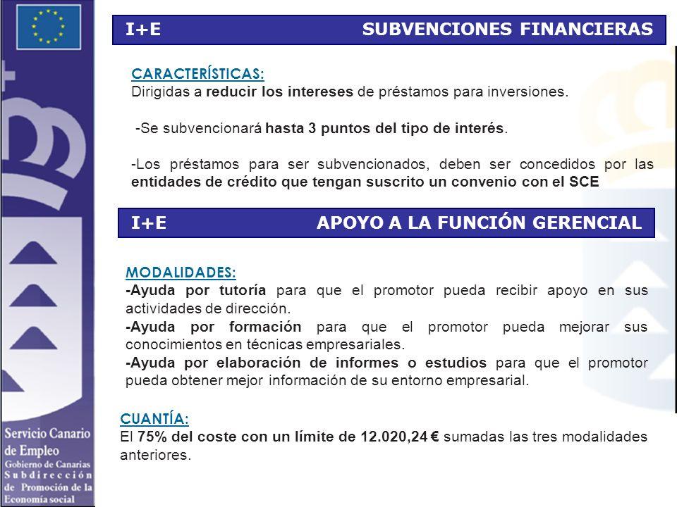 I+E SUBVENCIONES FINANCIERAS CARACTERÍSTICAS: Dirigidas a reducir los intereses de préstamos para inversiones.