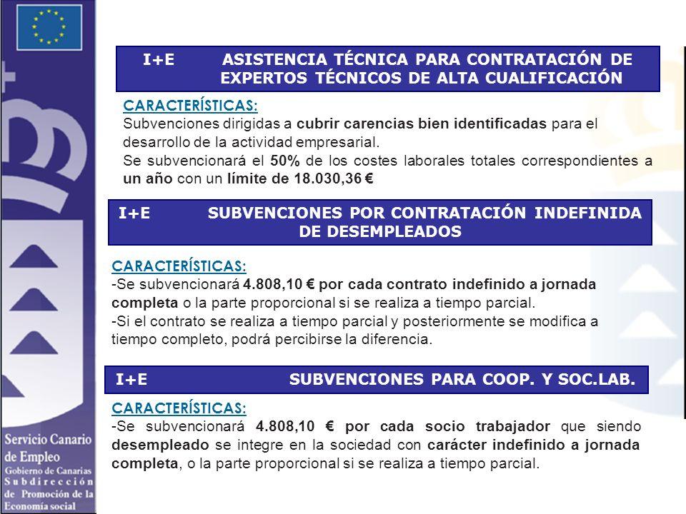 I+E ASISTENCIA TÉCNICA PARA CONTRATACIÓN DE EXPERTOS TÉCNICOS DE ALTA CUALIFICACIÓN CARACTERÍSTICAS: Subvenciones dirigidas a cubrir carencias bien identificadas para el desarrollo de la actividad empresarial.