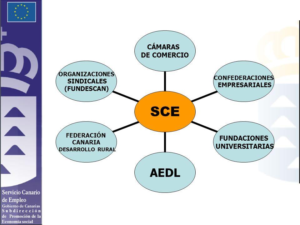 SCE CÁMARAS DE COMERCIO CONFEDERACIONES EMPRESARIALES FUNDACIONES UNIVERSITARIAS AEDL FEDERACIÓN CANARIA DESARROLLO RURAL ORGANIZACIONES SINDICALES (FUNDESCAN)