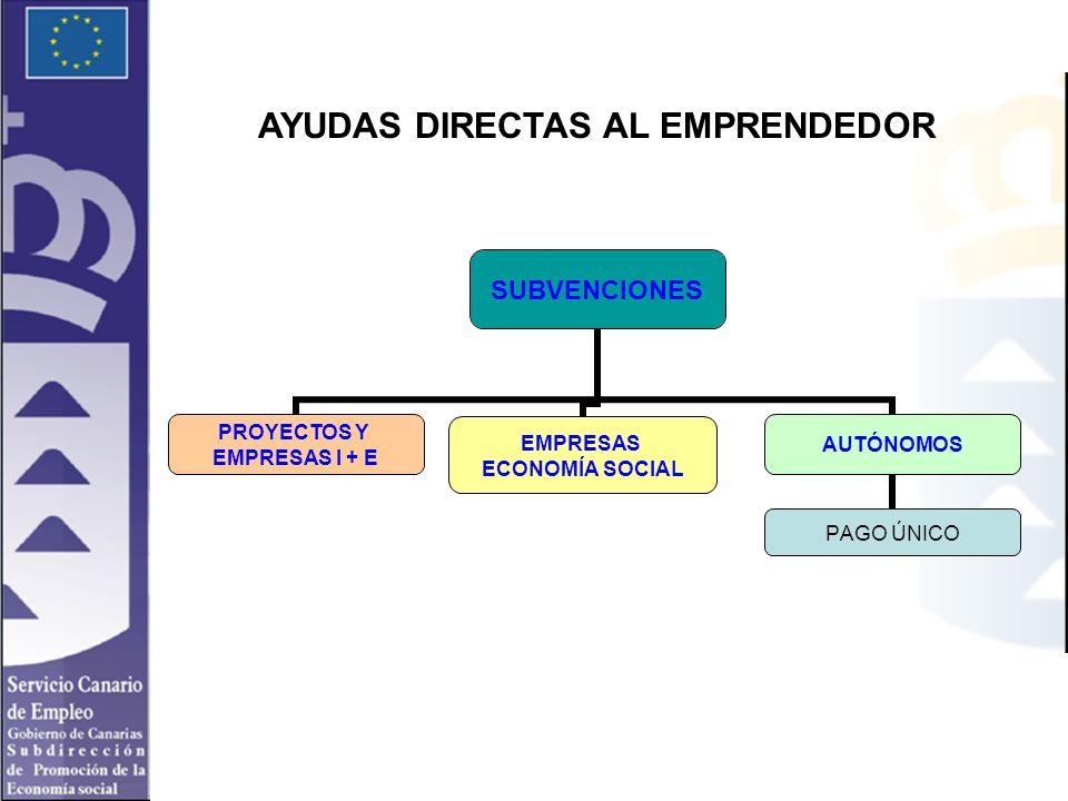 AYUDAS DIRECTAS AL EMPRENDEDOR SUBVENCIONES PROYECTOS Y EMPRESAS I + E EMPRESAS ECONOMÍA SOCIAL AUTÓNOMOS PAGO ÚNICO