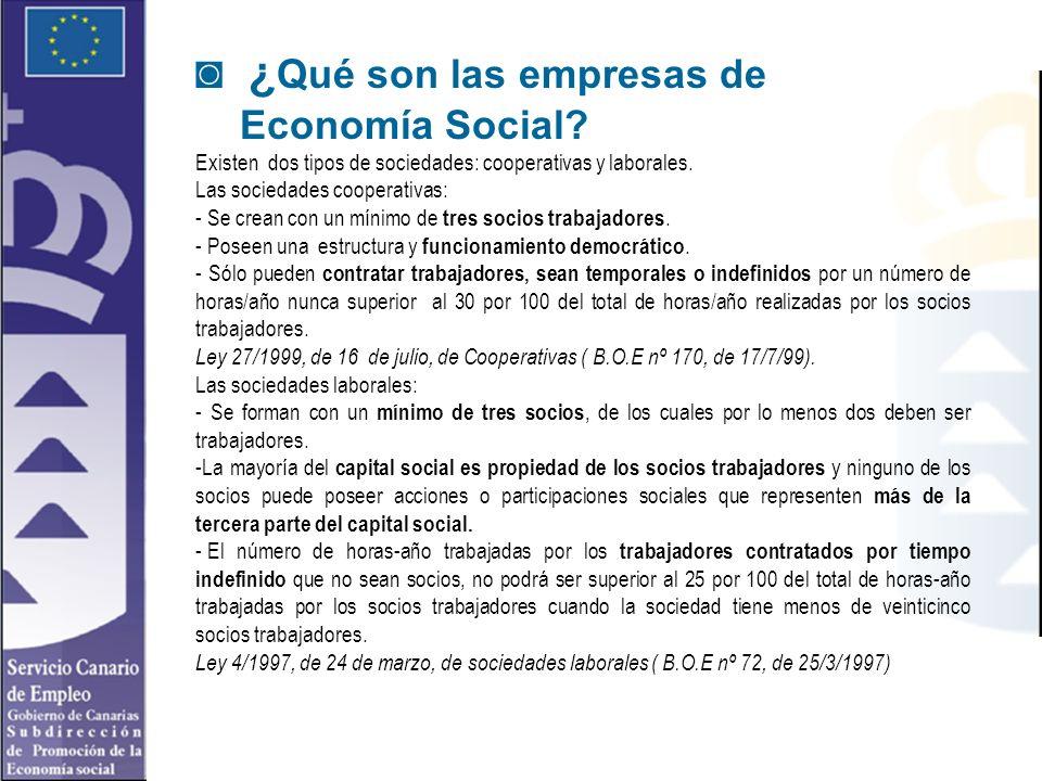 ¿ Qué son las empresas de Economía Social? Existen dos tipos de sociedades: cooperativas y laborales. Las sociedades cooperativas: - Se crean con un m