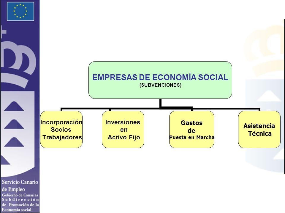 EMPRESAS DE ECONOMÍA SOCIAL (SUBVENCIONES) Incorporación Socios Trabajadores Inversiones en Activo Fijo Gastos de Puesta en Marcha Asistencia Técnica