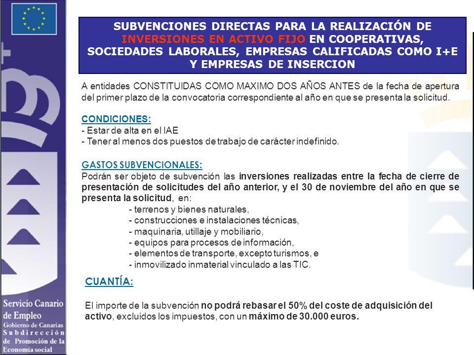 SUBVENCIONES DIRECTAS PARA LA REALIZACIÓN DE INVERSIONES EN ACTIVO FIJO EN COOPERATIVAS, SOCIEDADES LABORALES, EMPRESAS CALIFICADAS COMO I+E Y EMPRESA