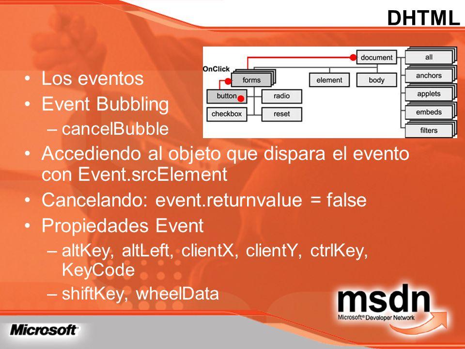 Los eventos Event Bubbling –cancelBubble Accediendo al objeto que dispara el evento con Event.srcElement Cancelando: event.returnvalue = false Propied