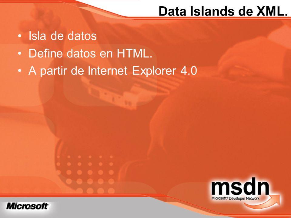 Data Islands de XML. Isla de datos Define datos en HTML. A partir de Internet Explorer 4.0