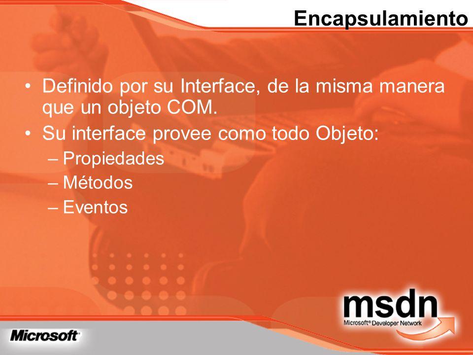 Encapsulamiento Definido por su Interface, de la misma manera que un objeto COM. Su interface provee como todo Objeto: –Propiedades –Métodos –Eventos
