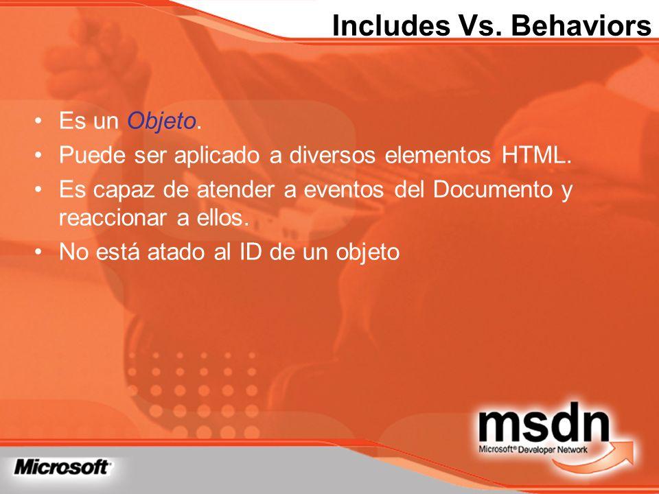 Includes Vs. Behaviors Es un Objeto. Puede ser aplicado a diversos elementos HTML. Es capaz de atender a eventos del Documento y reaccionar a ellos. N