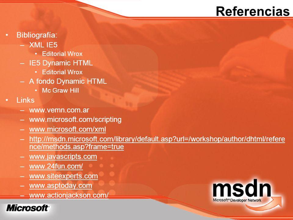 Referencias Bibliografía: –XML IE5 Editorial Wrox –IE5 Dynamic HTML Editorial Wrox –A fondo Dynamic HTML Mc Graw Hill Links –www.vemn.com.ar –www.micr
