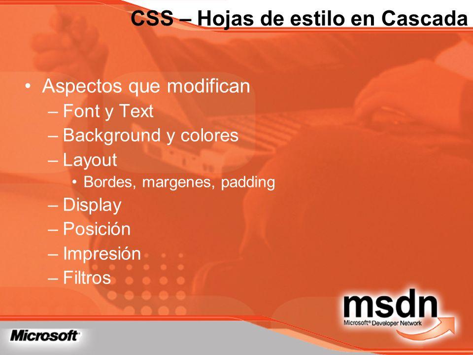 Aspectos que modifican –Font y Text –Background y colores –Layout Bordes, margenes, padding –Display –Posición –Impresión –Filtros CSS – Hojas de esti