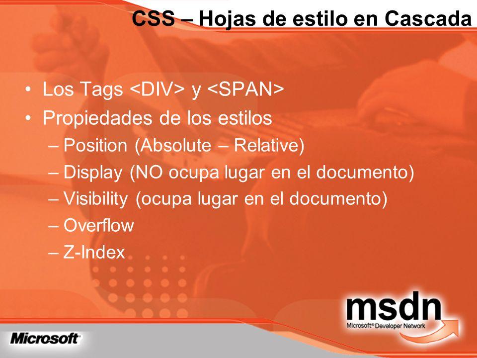 Los Tags y Propiedades de los estilos –Position (Absolute – Relative) –Display (NO ocupa lugar en el documento) –Visibility (ocupa lugar en el documen