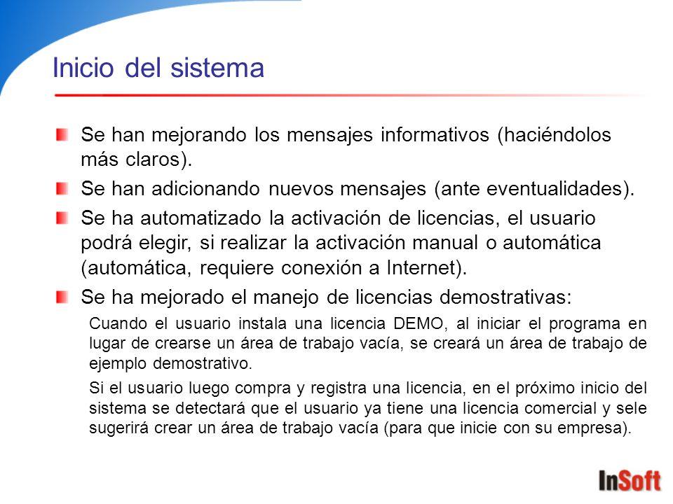 Licencias DEMO y áreas de trabajo de ejemplo Restricciones de las licencias demostrativas: Tiempo de vencimiento (30 días por defecto, 60 días e ilimitada).