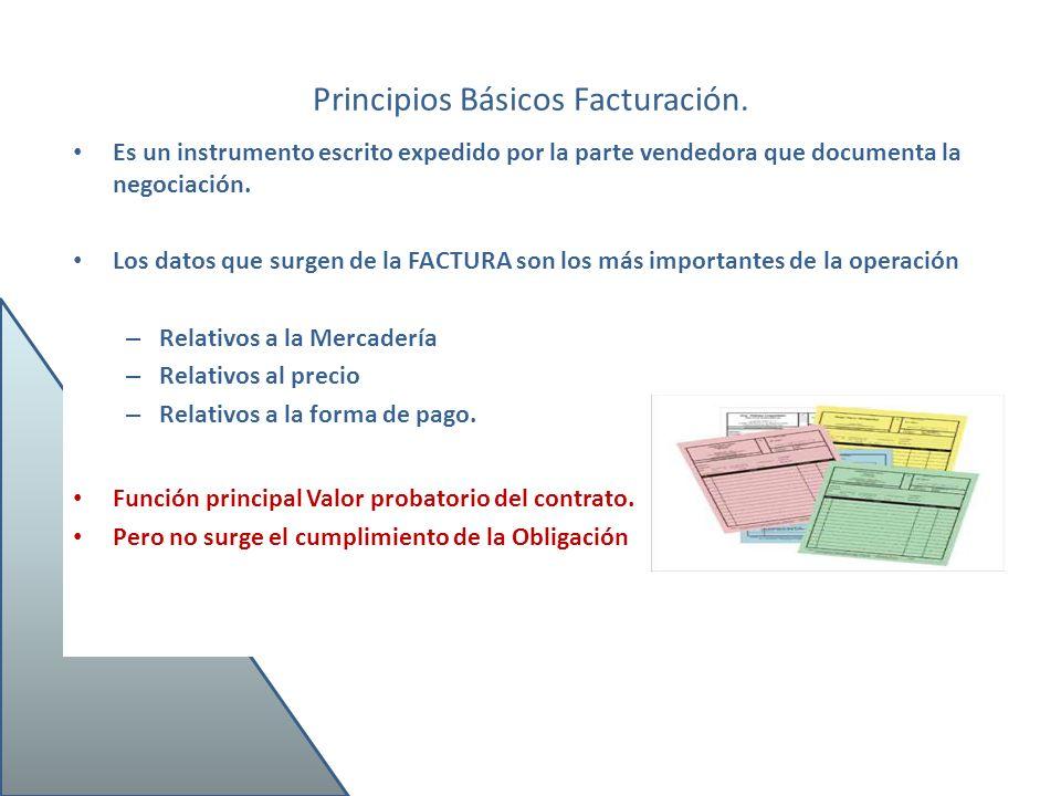 Principios Básicos Facturación. Es un instrumento escrito expedido por la parte vendedora que documenta la negociación. Los datos que surgen de la FAC