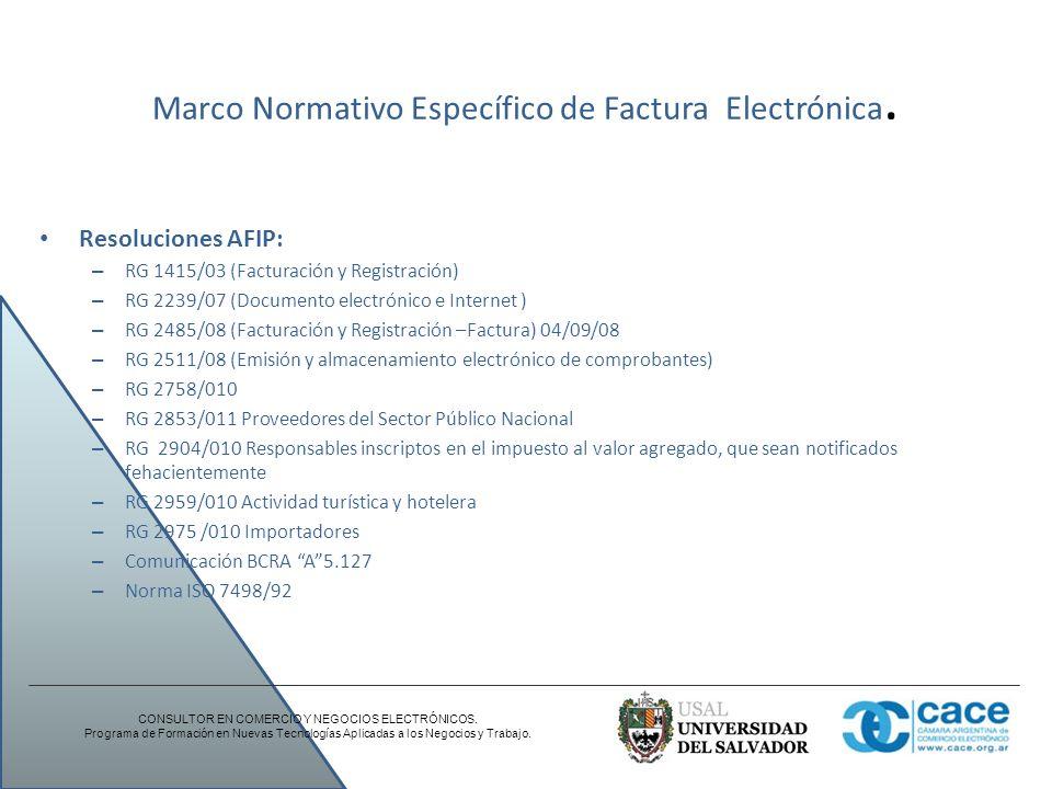 Marco Normativo Específico de Factura Electrónica. Resoluciones AFIP: – RG 1415/03 (Facturación y Registración) – RG 2239/07 (Documento electrónico e