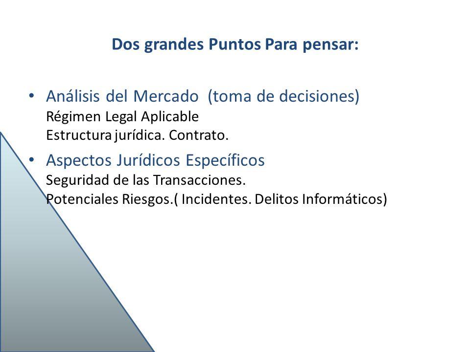 Dos grandes Puntos Para pensar: Análisis del Mercado (toma de decisiones) Régimen Legal Aplicable Estructura jurídica. Contrato. Aspectos Jurídicos Es
