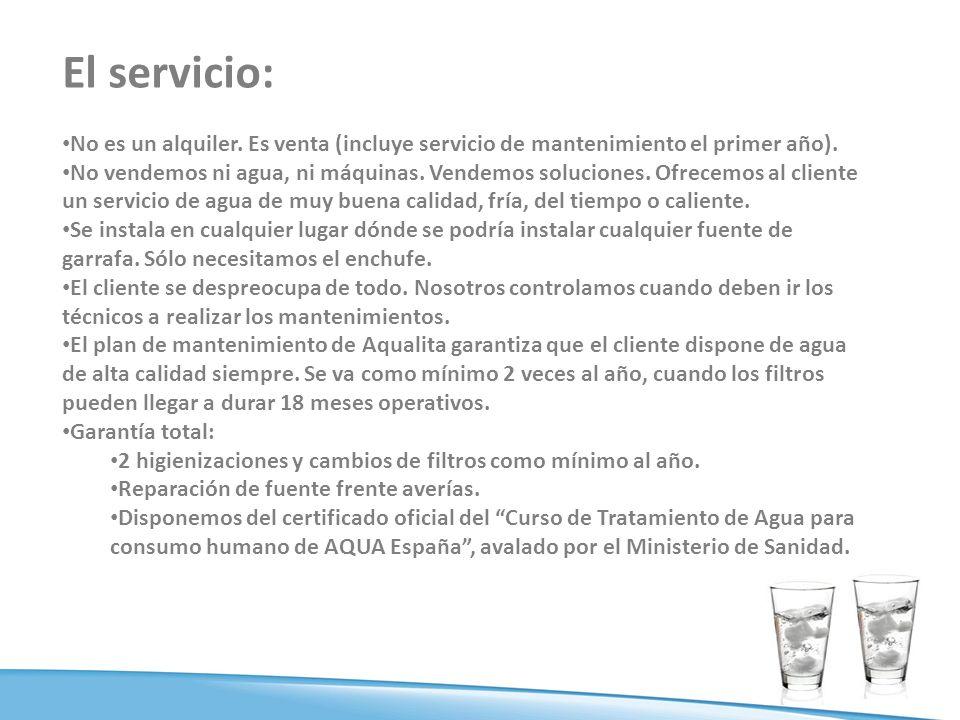 El servicio: No es un alquiler.Es venta (incluye servicio de mantenimiento el primer año).