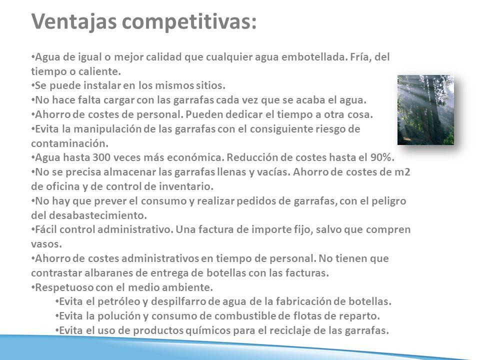 Ventajas competitivas: Agua de igual o mejor calidad que cualquier agua embotellada.