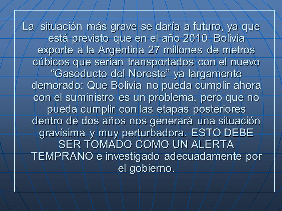 La situación más grave se daría a futuro, ya que está previsto que en el año 2010 Bolivia exporte a la Argentina 27 millones de metros cúbicos que serían transportados con el nuevo Gasoducto del Noreste ya largamente demorado: Que Bolivia no pueda cumplir ahora con el suministro es un problema, pero que no pueda cumplir con las etapas posteriores dentro de dos años nos generará una situación gravísima y muy perturbadora.