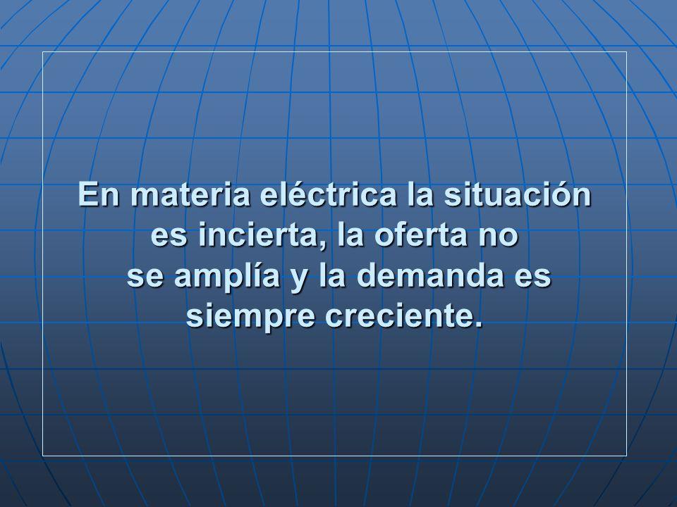 En materia eléctrica la situación es incierta, la oferta no se amplía y la demanda es siempre creciente.