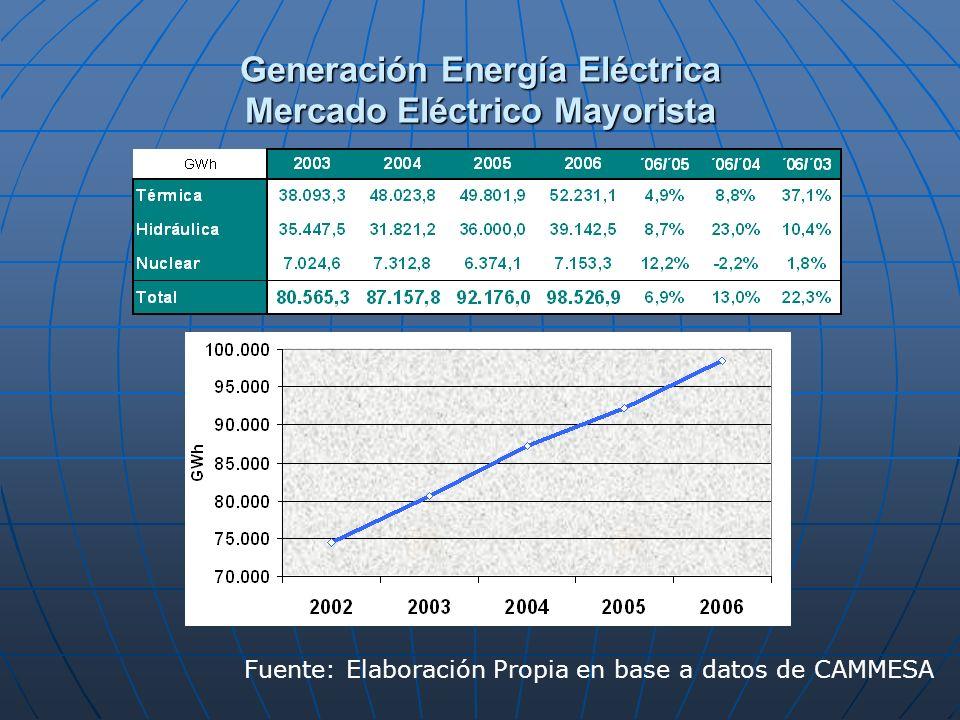 Generación Energía Eléctrica Mercado Eléctrico Mayorista Fuente: Elaboración Propia en base a datos de CAMMESA