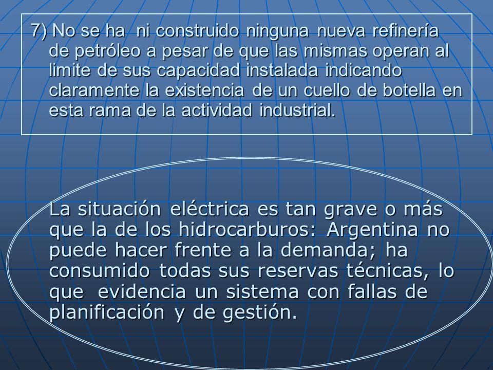7) No se ha ni construido ninguna nueva refinería de petróleo a pesar de que las mismas operan al limite de sus capacidad instalada indicando claramente la existencia de un cuello de botella en esta rama de la actividad industrial.