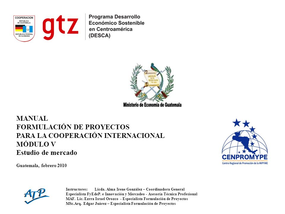 MANUAL FORMULACIÓN DE PROYECTOS PARA LA COOPERACIÓN INTERNACIONAL MÓDULO V Estudio de mercado Guatemala, febrero 2010 Instructores:Licda. Alma Irene G