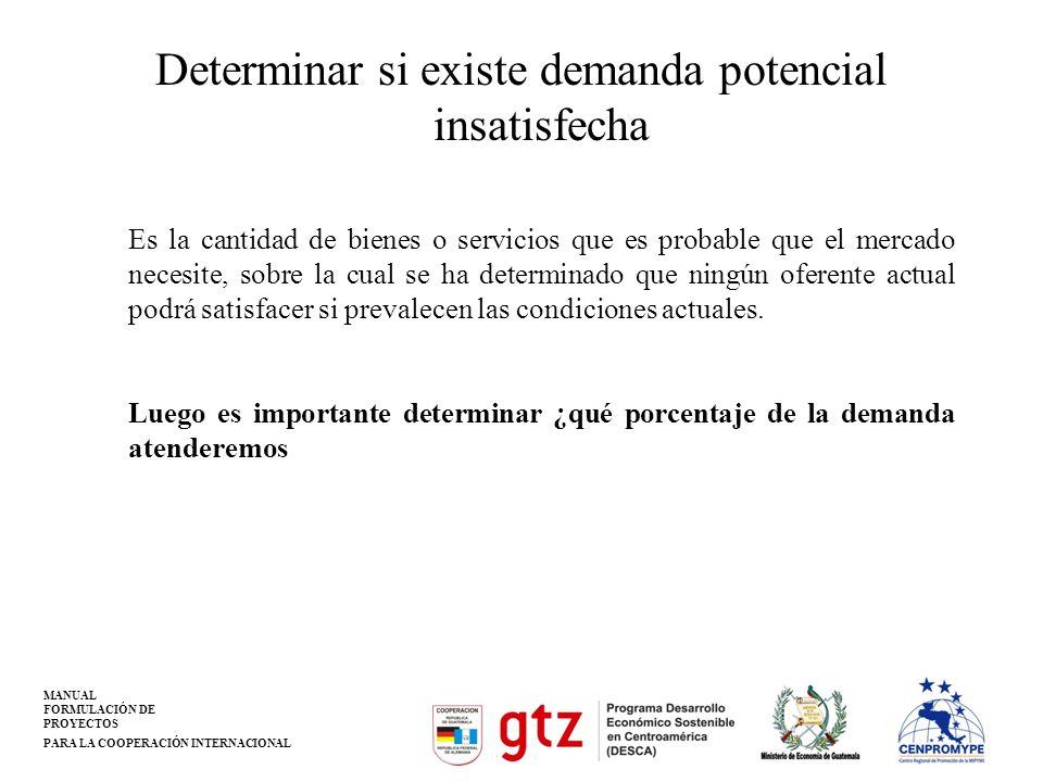 MANUAL FORMULACIÓN DE PROYECTOS PARA LA COOPERACIÓN INTERNACIONAL Determinar si existe demanda potencial insatisfecha Es la cantidad de bienes o servi