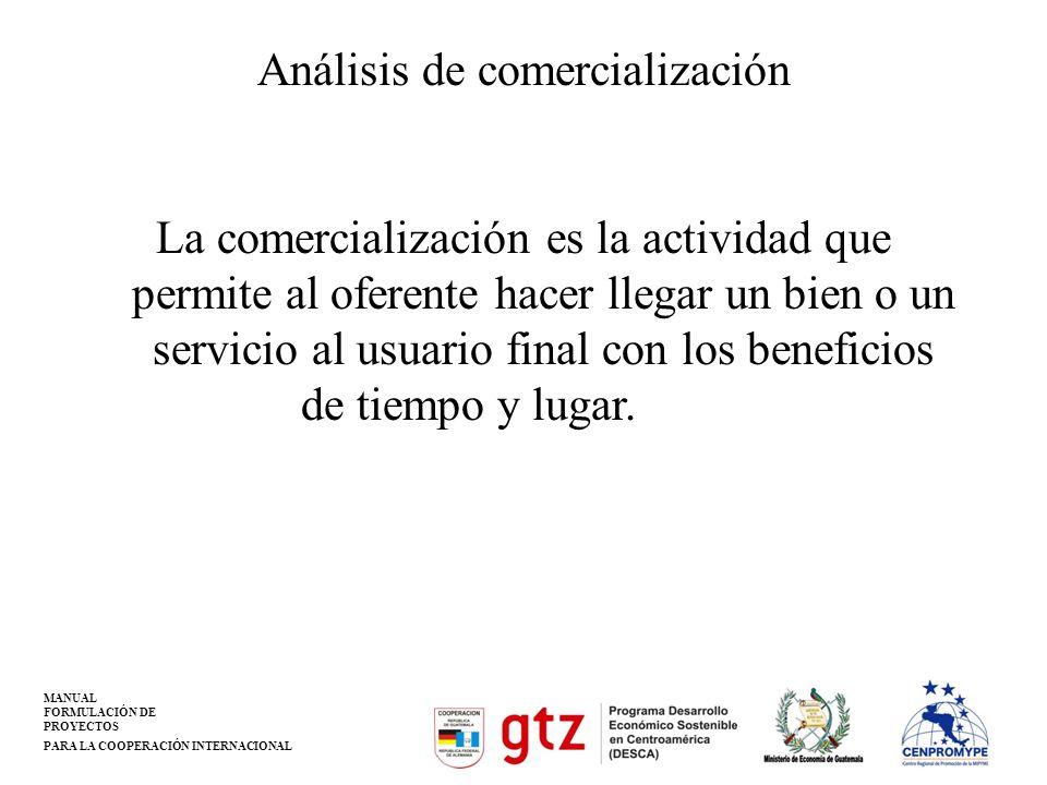 MANUAL FORMULACIÓN DE PROYECTOS PARA LA COOPERACIÓN INTERNACIONAL Análisis de comercialización La comercialización es la actividad que permite al ofer