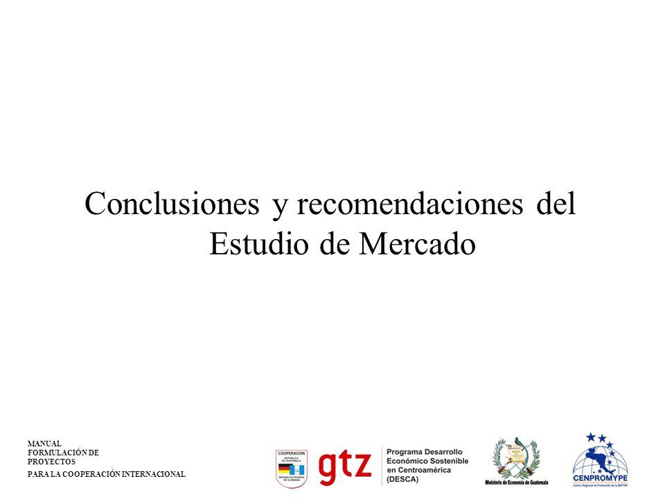 MANUAL FORMULACIÓN DE PROYECTOS PARA LA COOPERACIÓN INTERNACIONAL Conclusiones y recomendaciones del Estudio de Mercado