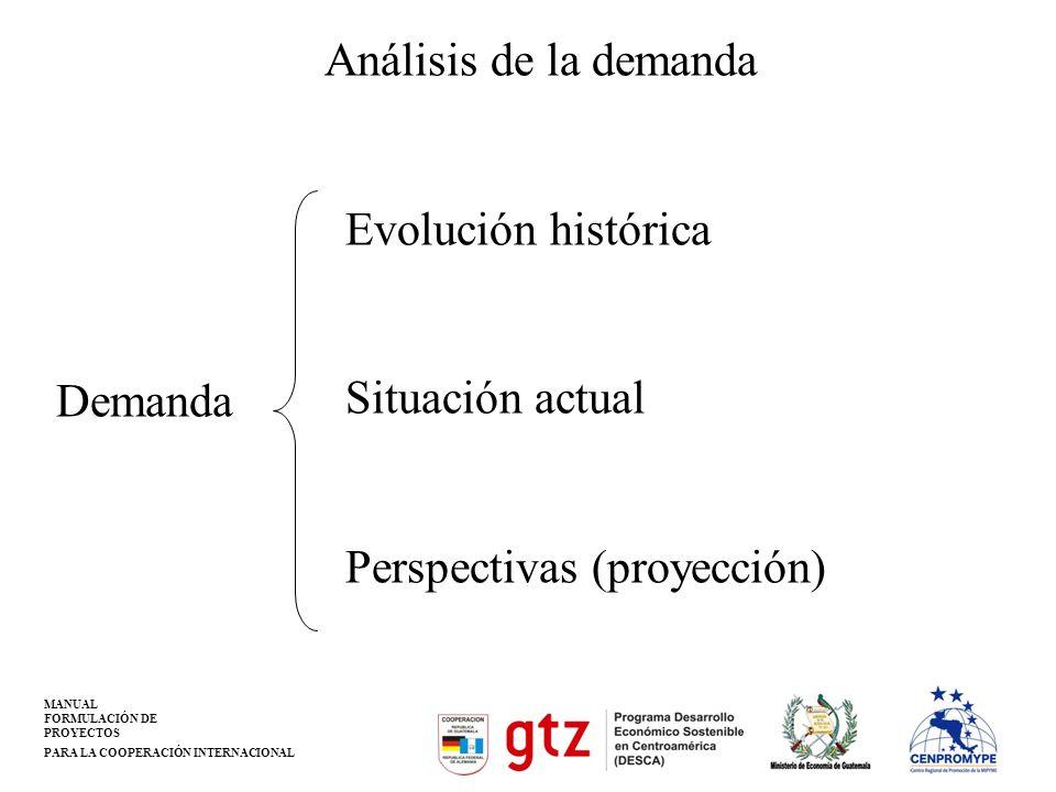 MANUAL FORMULACIÓN DE PROYECTOS PARA LA COOPERACIÓN INTERNACIONAL Análisis de la demanda Evolución histórica Situación actual Perspectivas (proyección
