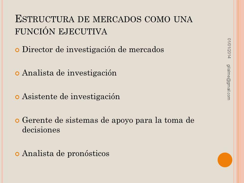 E STRUCTURA DE MERCADOS COMO UNA FUNCIÓN EJECUTIVA Director de investigación de mercados Analista de investigación Asistente de investigación Gerente