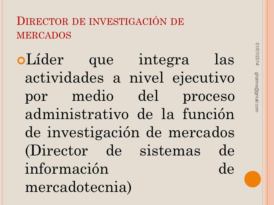 D IRECTOR DE INVESTIGACIÓN DE MERCADOS Líder que integra las actividades a nivel ejecutivo por medio del proceso administrativo de la función de inves