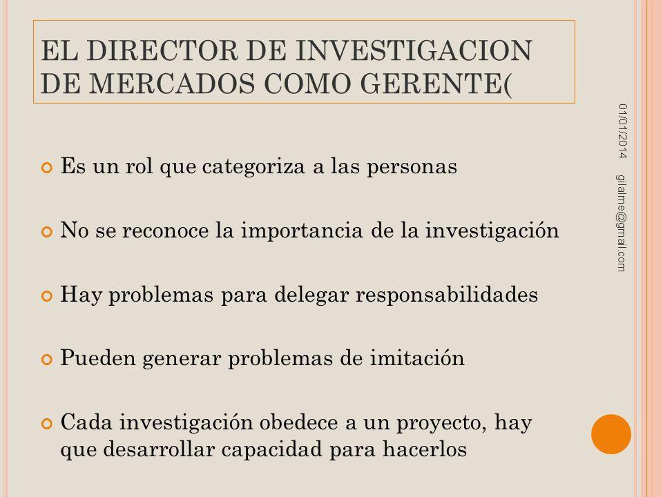 EL DIRECTOR DE INVESTIGACION DE MERCADOS COMO GERENTE( Es un rol que categoriza a las personas No se reconoce la importancia de la investigación Hay p