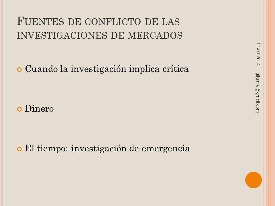 F UENTES DE CONFLICTO DE LAS INVESTIGACIONES DE MERCADOS Cuando la investigación implica crítica Dinero El tiempo: investigación de emergencia 01/01/2