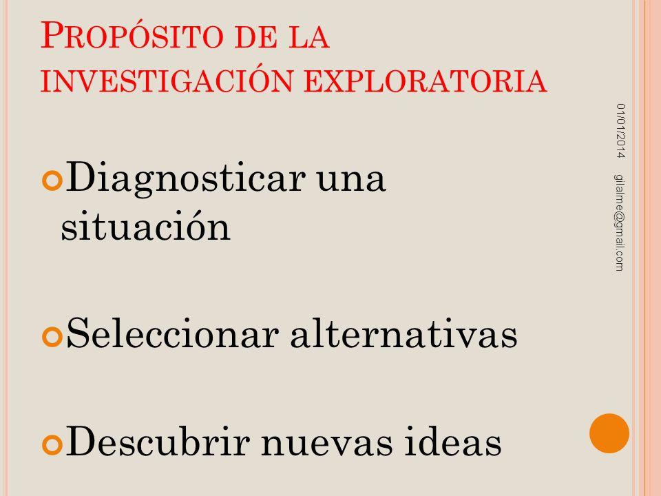 P ROPÓSITO DE LA INVESTIGACIÓN EXPLORATORIA Diagnosticar una situación Seleccionar alternativas Descubrir nuevas ideas 01/01/2014 gilalme@gmail.com