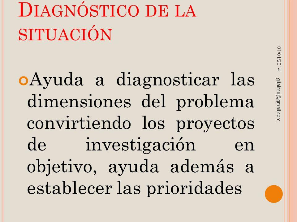 D IAGNÓSTICO DE LA SITUACIÓN Ayuda a diagnosticar las dimensiones del problema convirtiendo los proyectos de investigación en objetivo, ayuda además a