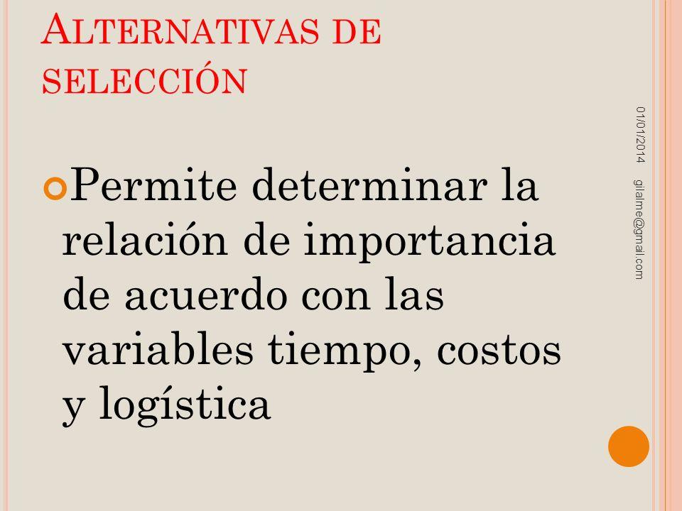 A LTERNATIVAS DE SELECCIÓN Permite determinar la relación de importancia de acuerdo con las variables tiempo, costos y logística 01/01/2014 gilalme@gm