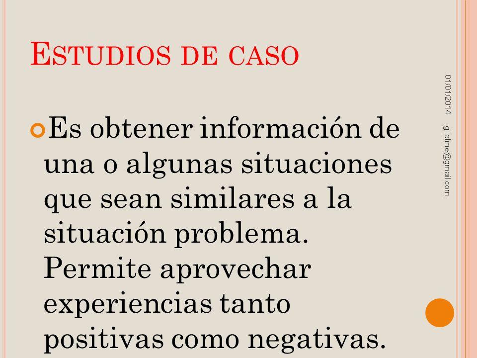 E STUDIOS DE CASO Es obtener información de una o algunas situaciones que sean similares a la situación problema. Permite aprovechar experiencias tant