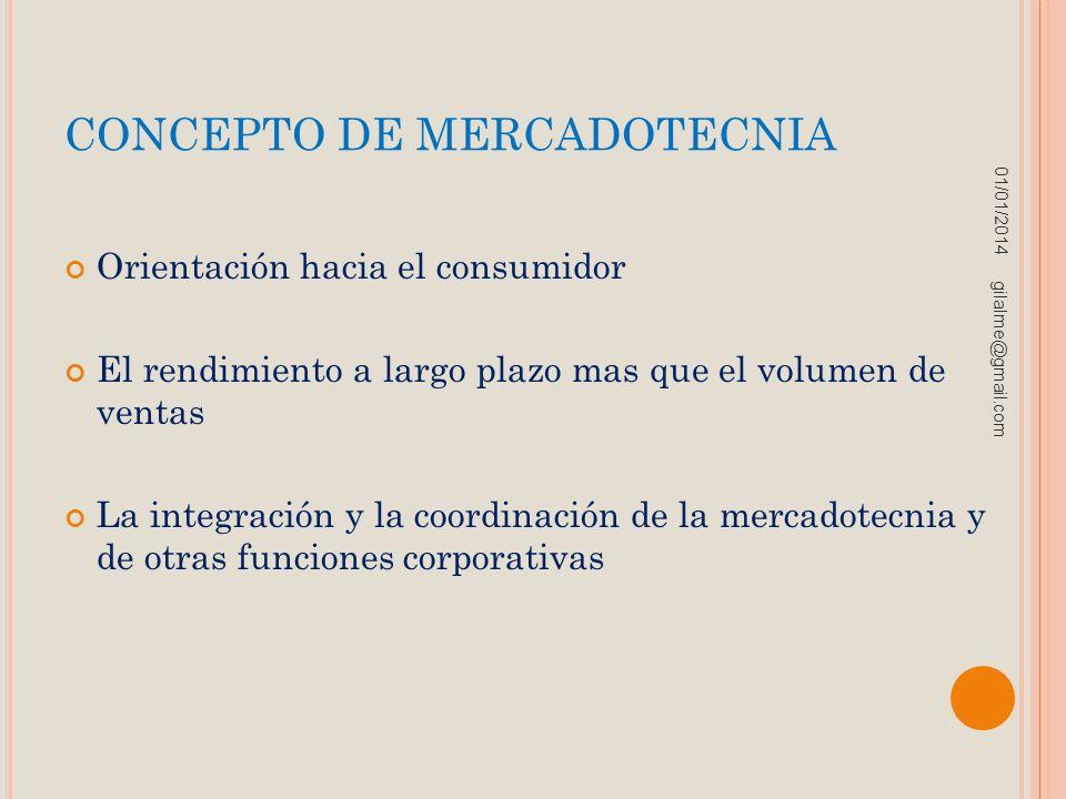 CONCEPTO DE MERCADOTECNIA Orientación hacia el consumidor El rendimiento a largo plazo mas que el volumen de ventas La integración y la coordinación d