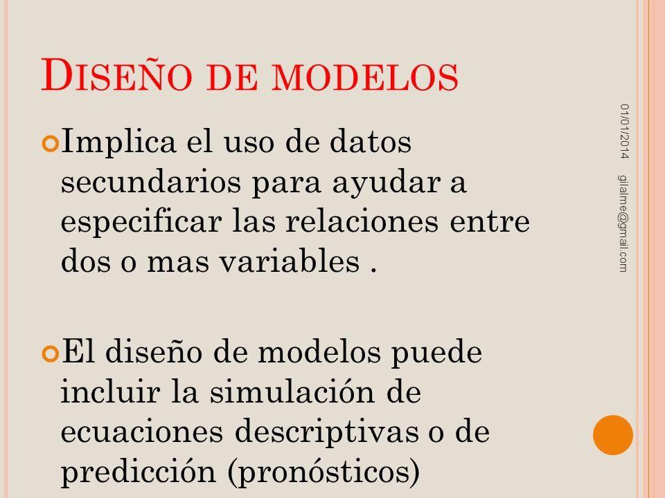 D ISEÑO DE MODELOS Implica el uso de datos secundarios para ayudar a especificar las relaciones entre dos o mas variables. El diseño de modelos puede
