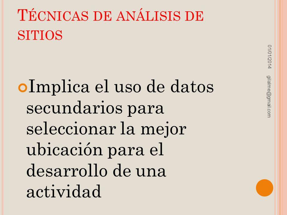 T ÉCNICAS DE ANÁLISIS DE SITIOS Implica el uso de datos secundarios para seleccionar la mejor ubicación para el desarrollo de una actividad 01/01/2014