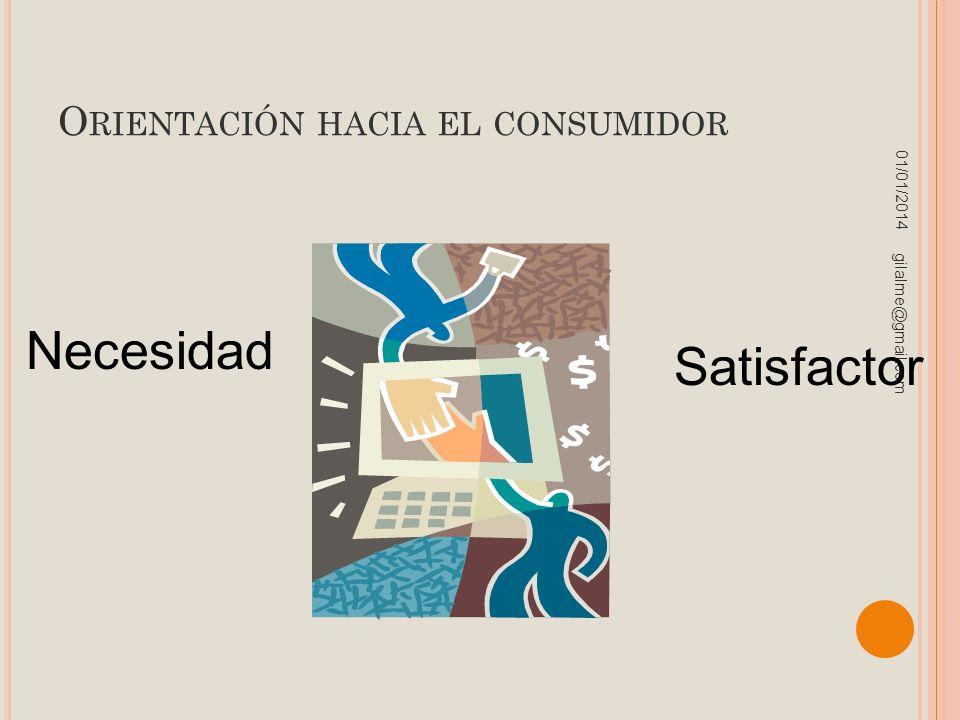 O RIENTACIÓN HACIA EL CONSUMIDOR 01/01/2014 gilalme@gmail.com Necesidad Satisfactor