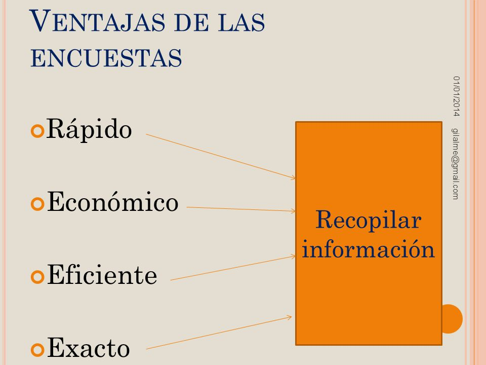 V ENTAJAS DE LAS ENCUESTAS Rápido Económico Eficiente Exacto 01/01/2014 gilalme@gmail.com Recopilar información