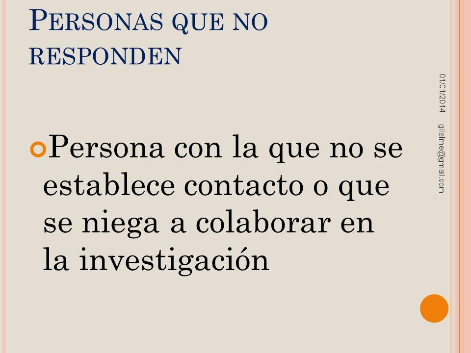 P ERSONAS QUE NO RESPONDEN Persona con la que no se establece contacto o que se niega a colaborar en la investigación 01/01/2014 gilalme@gmail.com