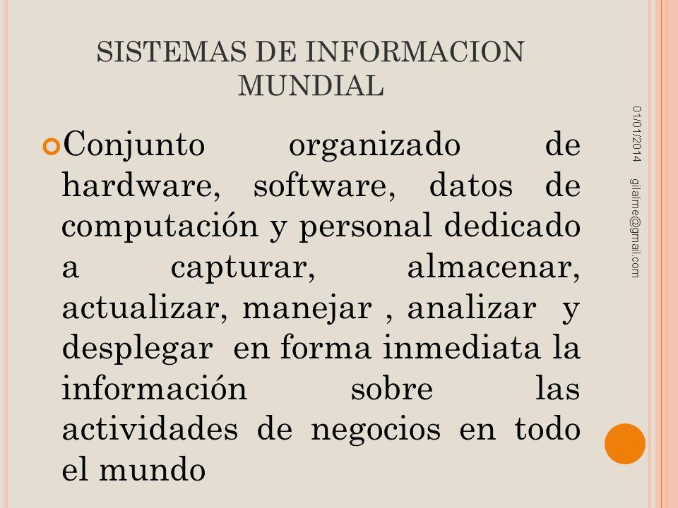 SISTEMAS DE INFORMACION MUNDIAL Conjunto organizado de hardware, software, datos de computación y personal dedicado a capturar, almacenar, actualizar,