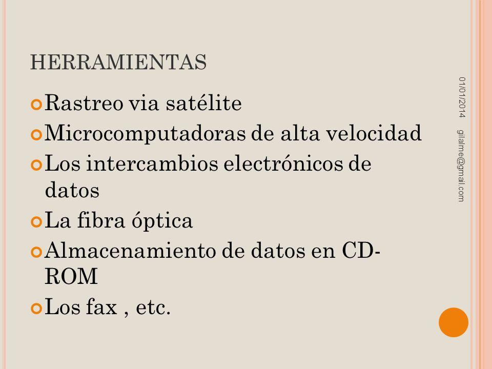 HERRAMIENTAS Rastreo via satélite Microcomputadoras de alta velocidad Los intercambios electrónicos de datos La fibra óptica Almacenamiento de datos e